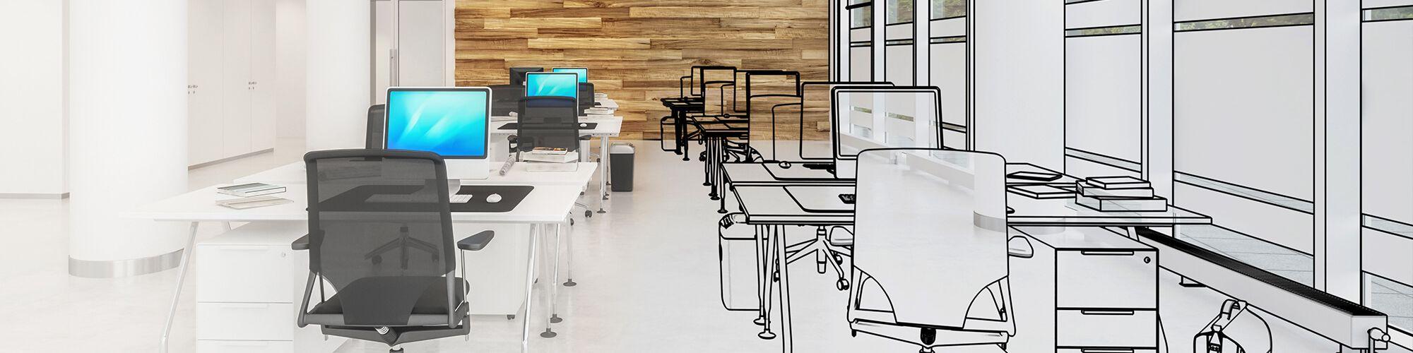 Büroraum mit Holzwand